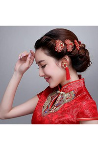 ?Bride Wedding Day Red Headdress Flow Comb Earrings Cheongsam Show And Dress Accessories