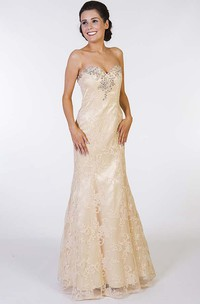 A-Line Beaded Sweetheart Floor-Length Sleeveless Lace Prom Dress With Appliques
