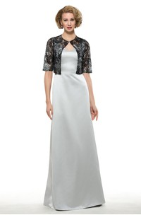 Elegant Satin Sheath V-Neck Sleeveless Long Dress with Bolero
