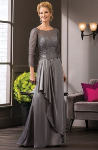 3-4 Sleeved Long Mother Of The Bride Dress With Ruffles And Jewels