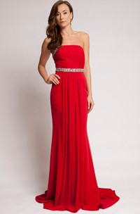 Sheath Beaded Long Sleeveless Strapless Chiffon Prom Dress With Backless Style And Pleats