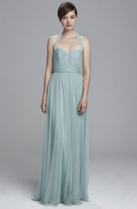 A-Line Maxi Sleeveless Haltered Ruched Tulle Bridesmaid Dress With Pleats