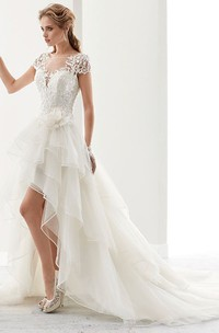Illusion Jewel-Neck High-Low Bridal Gown With Ruffles And T-Shirt Sleeves