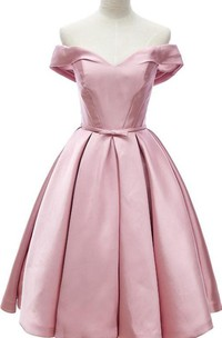 Elegant Off The Shoulder Knee Length Satin Dress