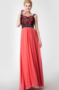 A-line Lace Strap Chiffon Gown With Satin Belt
