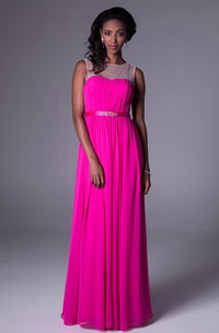 Sheath Floor-Length Sleeveless Ruched Scoop-Neck Chiffon Bridesmaid Dress With Waist Jewellery