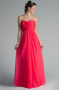Sweetheart Pleated Chiffon Long Dress With Flowers