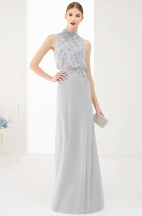 High Neck Sleeveless A-Line Chiffon Long Prom Dress With Neck Bow