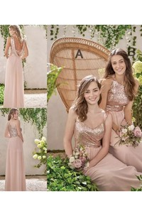 Sleeveless A-line Halter V-neck Floor-length Chiffon Sequins Bridesmaid Dress with Ruching