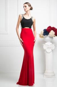 Muti-Color Sheath Scoop-Neck Sleeveless Jersey Keyhole Dress With Beading