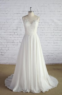 Scoop Neck Sleeveless Long A-Line Chiffon Wedding Dress With Lace Bodice