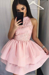 A-line Ball Gown Short Mini Sleeveless High Neck Ruching Tiers Satin Lace Homecoming Dress