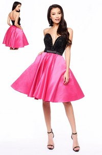 A-Line Short Sweetheart Sleeveless Satin Dress With Beading