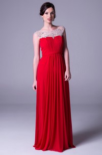 Sheath Bateau-Neck Beaded Cap-Sleeve Floor-Length Chiffon Prom Dress With Pleats