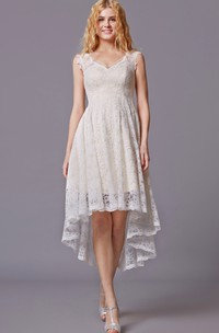 Simple Lace High Low Bridesmaid Dress With Sleeveless Lacy Style and Asymmetrical Cut