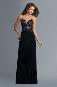 A-Line Scoop-Neck Sleeveless Jersey Illusion Dress With Appliques And Pleats