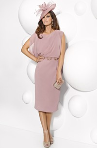 Tea-Length Sleeveless Scoop Neck Jeweled Chiffon Mother Of The Bride Dress