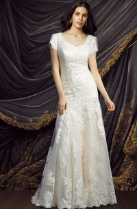 Modest Elegant Short Sleeve Queen Anne Neckline Court Train Lace Wedding Dress