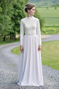 Modest Lace and Chiffon Jewel-Neck Long-Sleeve Floor Length Bridal Gown