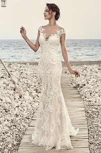 Sheath Cap-Sleeve V-Neck Floor-Length Lace Wedding Dress With Appliques And Illusion