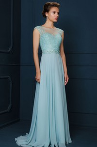 A-Line Jewel-Neck Cap-Sleeve Appliqued Maxi Chiffon&Lace Evening Dress With Beading And Pleats