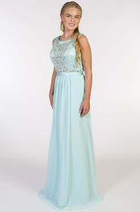 Sheath Long Beaded Scoop-Neck Sleeveless Chiffon Prom Dress