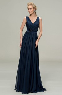 V-neck Sleeveless Elegant Chiffon Floor-length Dress With Floral Appliques And Sash