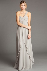 Sleeveless One-Shoulder Chiffon Bridesmaid Dress With Draping And Straps
