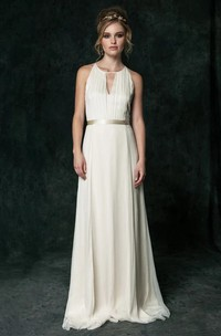 Ethereal Chiffon Halter Sleeveless Bridal Gown with Sash