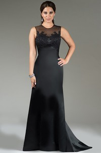 Modest Illusion Neck Sheath Satin Long Bridesmaid Dress With Applique And Keyhole