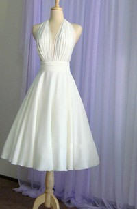 Vintage Tea-Length Chiffon Wedding Dress With Halter Neck and Bow