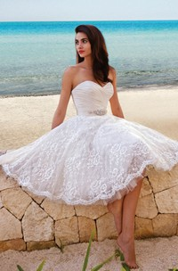 Princess Style Sweety Midi Beach Wedding Dress With Sash