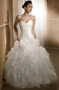 Ball Gown Sweetheart Floor-Length Beaded Organza Wedding Dress With Cascading Ruffles And Corset Back