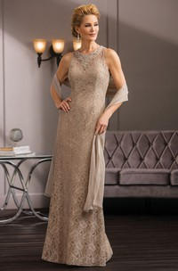 High-Neck Sleeveless Long Lace Gown With Shawl