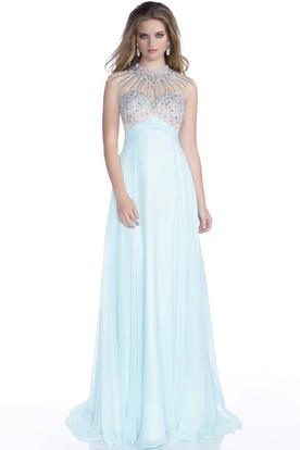 Aqua Plain Prom Dresses