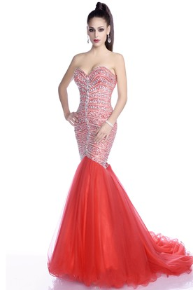 0b26c8711 Mermaid Tulle Sleeveless Sweetheart Crystal Prom Dress Featuring Lace-Up  Back ...