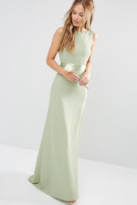53951f9a21c Sheath Sleeveless Long Scoop-Neck Chiffon Bridesmaid Dress With Bow And V  Back ...