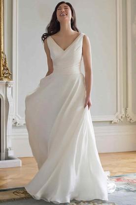 Wedding dresses under 100 cheap wedding dresses ucenter dress sheath long sleeveless v neck chiffon wedding dress with ruching junglespirit Images