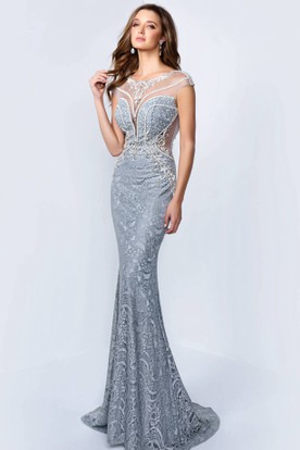 Sheath Maxi Scoop-Neck Cap-Sleeve Lace Illusion Dress With Beading And  Appliques ... b4fcd23edbc4