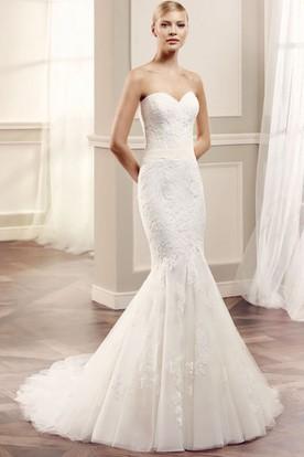Strapless lace wedding dresses ucenter dress sweetheart floor length appliqued lacetulle wedding dress junglespirit Gallery