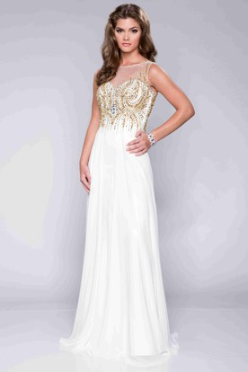 White And Gold Prom Dresses Gold And White Formal Wear Ucenter Dress