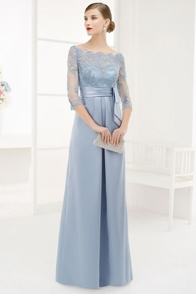 A-Line Floor-Length Appliqued Bateau-Neck 3-4-Sleeve Satin ... 2218c67e54a9