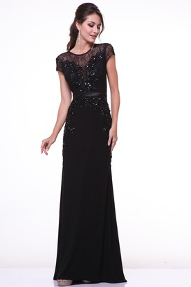 c368f34af69e Sheath Scoop-Neck Short Sleeve Chiffon Dress With Beading And Lace