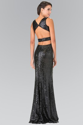 15b27a9714a ... Sheath Long V-Neck Sleeveless Sequins Backless Dress With Split Front  And Pleats