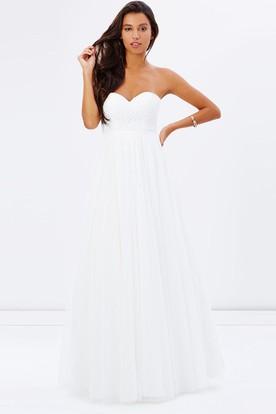 White Strapless Chiffon Bridesmaid Dresses