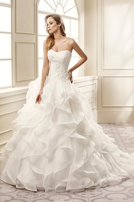 A Line Liqued Strapless Long Organza Wedding Dress With Cascading Ruffles And Court Train
