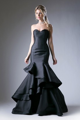 2dcce0055a5 Trumpet Sweetheart Sleeveless Satin Corset Back Dress With Tiers And  Ruffles ...