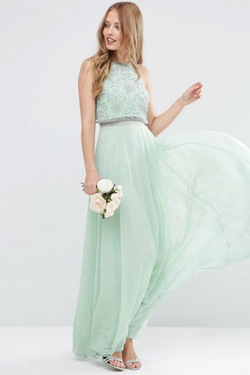 c0cd09fdad7 Ankle-Length Sleeveless Jewel Neck Beaded Chiffon Bridesmaid Dress With  Pleats ...