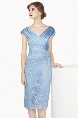 413a9121462 Satin V Neck Cap Sleeve Sheath Knee Length Lace Prom Dress Shown In Blue