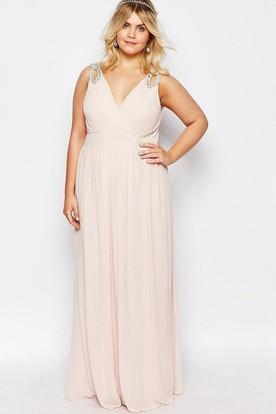 822a756b15d Maxi Beaded V-Neck Sleeveless Chiffon Bridesmaid Dress ...